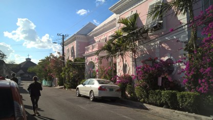Bahamas pink walls and Bougainvillea