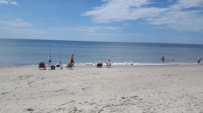 Fishing off the beach - men, women, kids - hey love it!